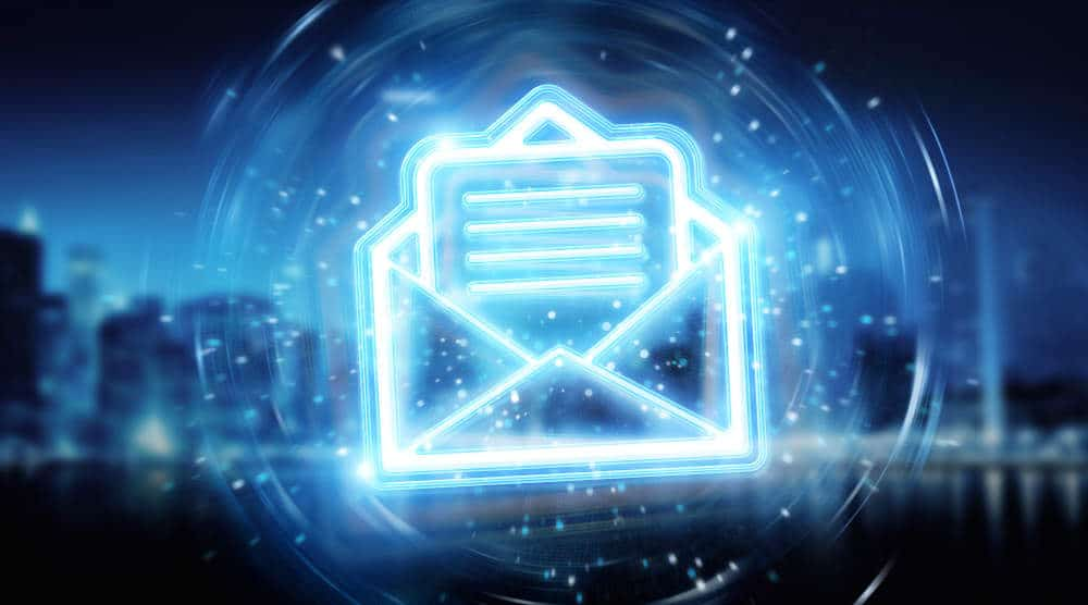 Digital email blue holographic interface on blue background 3D rendering